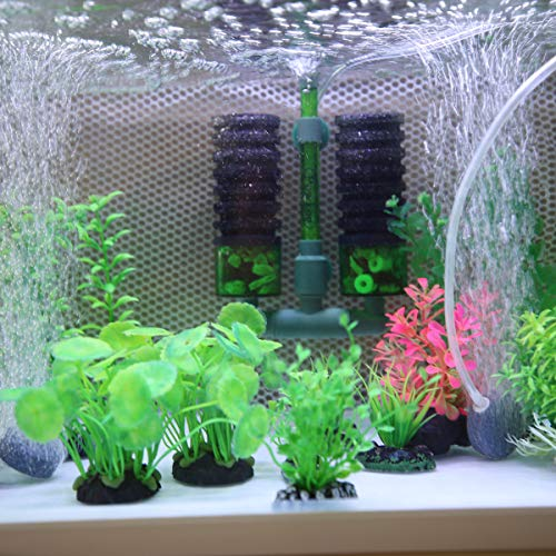 Powkoo Double Sponge Filter Aquarium Air Filter Fish Tank Filter Comes with 1 Bag of Bio Filter Media Canister Filter 0 3